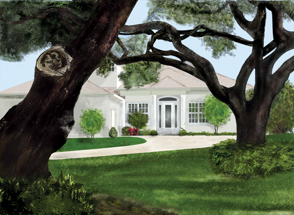 Riverhouse Digital Painting - Click to see enlarged image